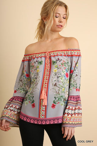 Boho Off Shoulder Floral Top - Grey