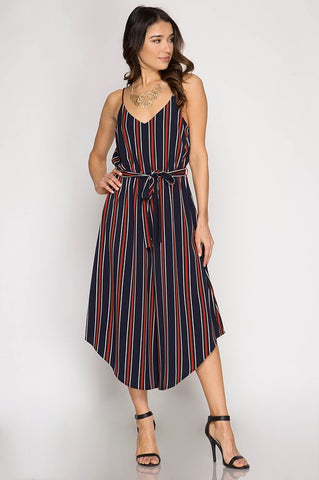 Striped Cami Jumpsuit - Navy