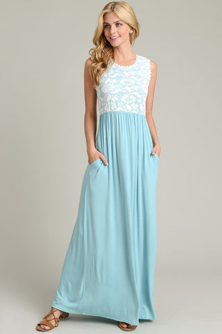 Lace Top Maxi Dress - Light Blue