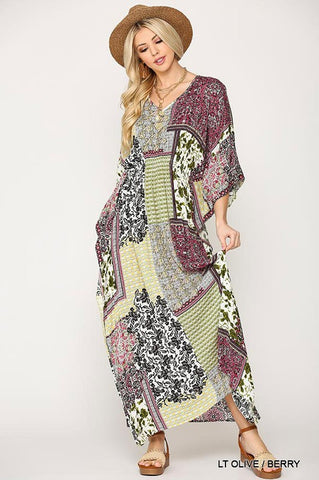 Boho Style Maxi Dress - Lt. Olive and Berry