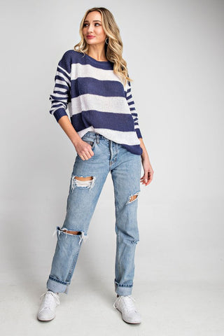 Striped Sweater - Navy