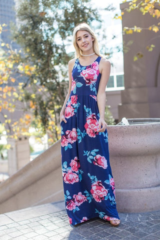 Garden Party Maxi Dress - Navy Rose Print