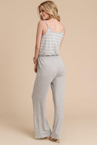 Striped Jumpsuit  - Ivory