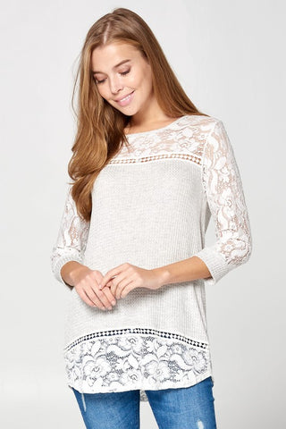 Lace Spring Top - Gray
