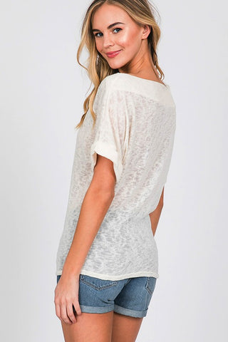 Boat Neck Short Sleeve Sweater Top - Off White