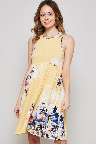 Sunshiney Day Floral Dress - Yellow
