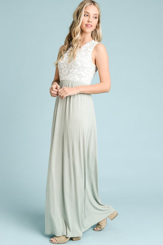 Lace Top Maxi Dress - Sage