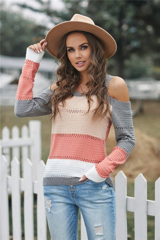 Cold Shoulder Striped Sweater - Apricot and Grey
