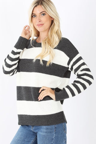 Candy Striped Sweater - Charcoal