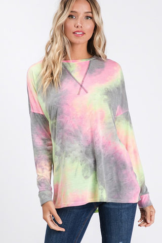 So Soft Tie Dye Top - Charcoal and Pink