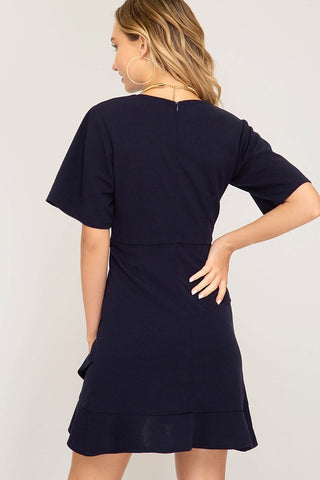 Half Sleeve Ruffle Bottom Dress - Navy