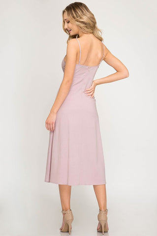 Button Up Midi Spaghetti Strap Dress - Dusty Pink