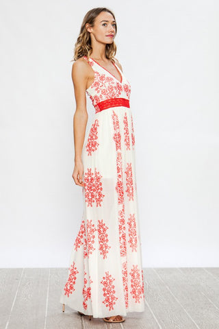Floral Elegance Maxi Dress - Red