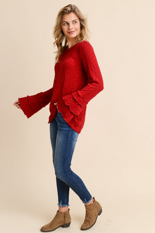 Ruffle Tier Sweater - Cherry