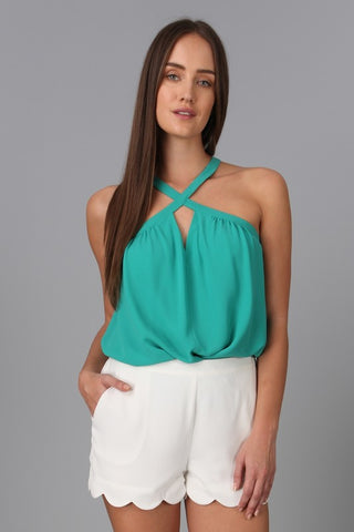 Criss Cross Halter Summer Top - Sea Green