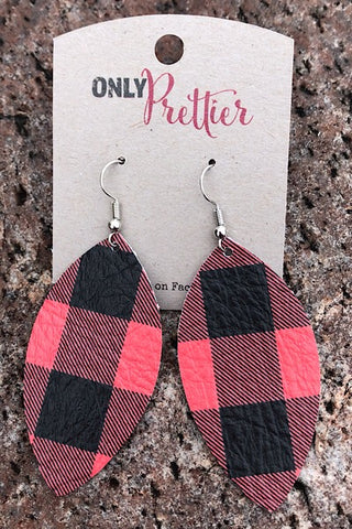 Buffalo Plaid Teardrop Earrings - Red and Black