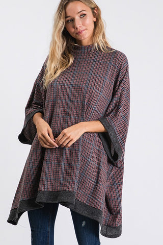 Plaid Poncho Top