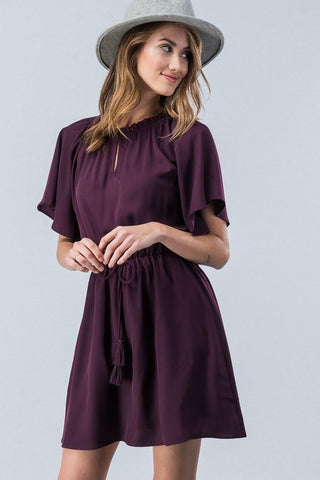 Short Sleeve Plum Dress