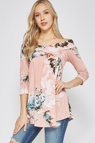 Off Shoulder Floral Top - Soft Pink