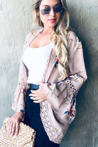 Bell Sleeved Floral Kimono - Taupe