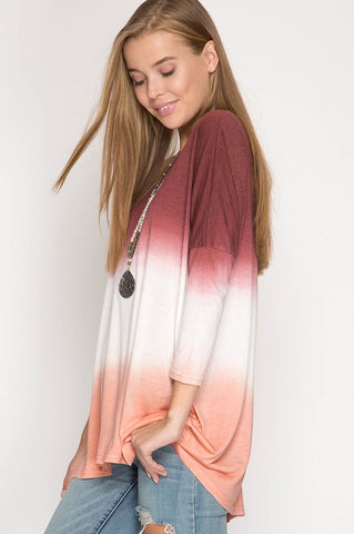 Color Dipped Tunic Top - Burgundy