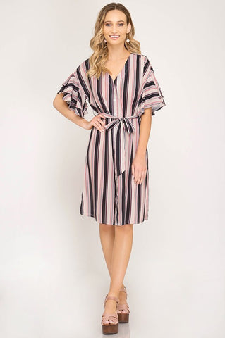 Classic Stripes Midi Dress - Blue