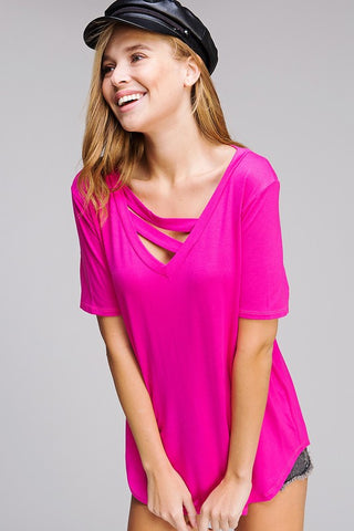 Strappy V-Neck Top - Neon Pink