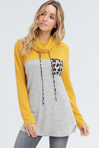 Cowl Neck Leopard Pocket Top - Mustard