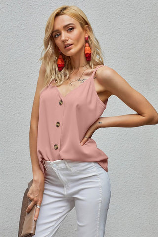 Button Front Tank - Pink