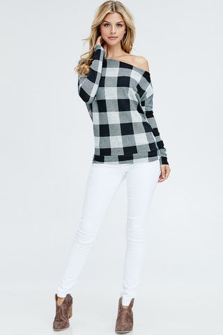 Off Shoulder Buffalo Plaid Top - Heather Gray and Black