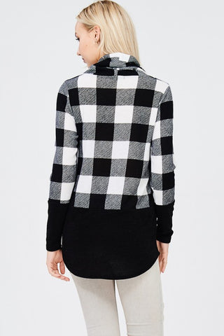 Cowl Neck Buffalo Plaid Top - Black and White