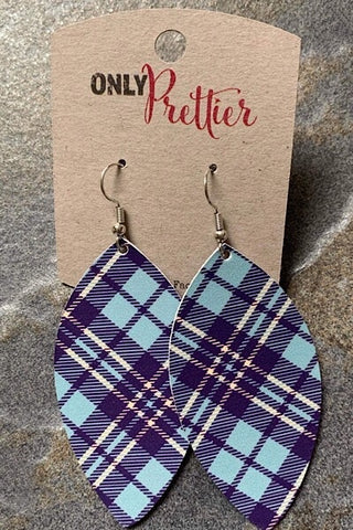 Leather Plaid Earrings - Blue