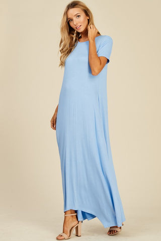 Short Sleeve Flowy Maxi Dress - Indigo
