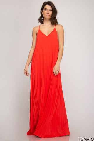 Pleated Maxi Dress - Red