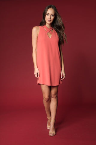 Criss Cross Neckline Shift Dress - Sedona