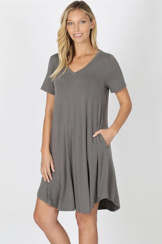 V-Neck A-Line Dress -  Mid Grey