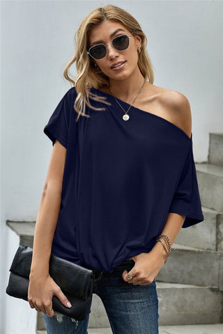 Short Sleeve Off Shoulder Knotted Top - Blue