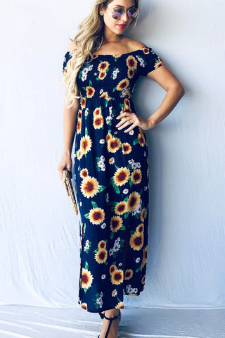 Off Shoulder Sunflower Dress - Navy