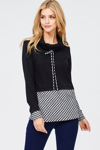 Checkered Cowl Neck - Black