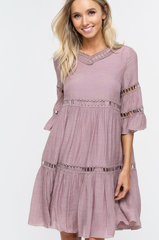Babydoll Boho Dress - Rose Smoke