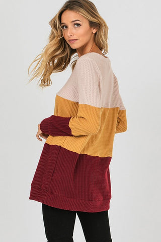 Thermal Color Block Top - Cream and Mustard