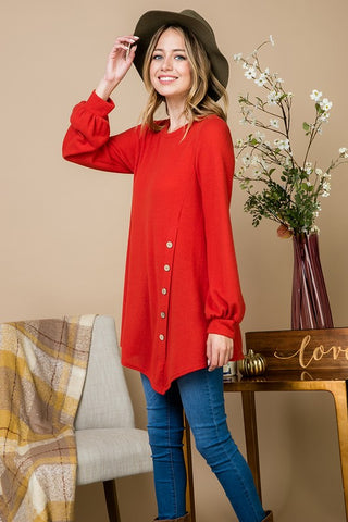 Balloon Sleeve Tunic - Rust