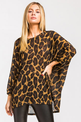 Leopard Print Poncho Style Top
