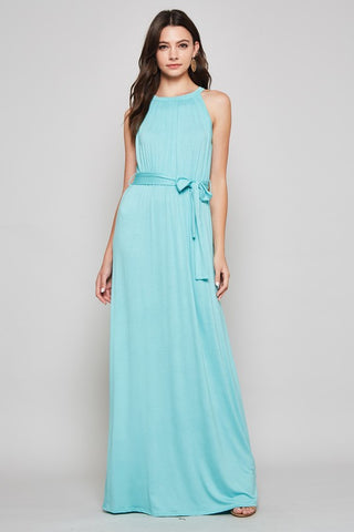 Solid Maxi Dress with Tie Waist - Aqua