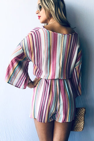 Rainbow Striped Romper