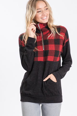 Zip Up Buffalo Plaid Top - Red and Black