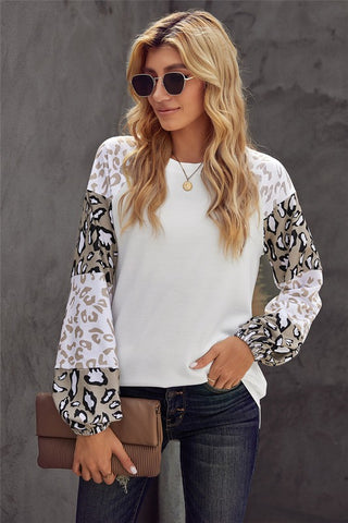 Bubble Sleeve Leopard Top