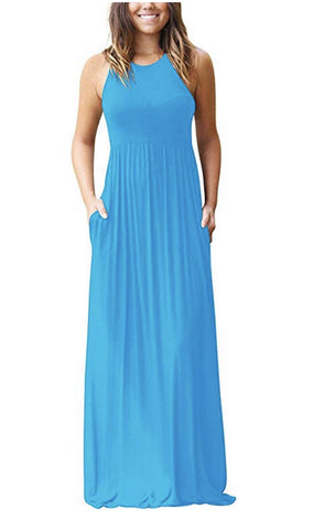Solid Racerback Maxi Dress - Turquoise