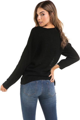 Wrapped in Warmth Sweater - Black
