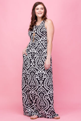 Garden Party Maxi Dress Plus - Black and White Damask